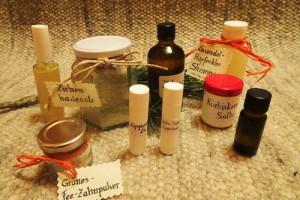 Messner Barbara:  Cremen, Salben, Lippenpflegestifte, Shampoo, Deo und verschiedene Salze (Brombeersalz, Himbeersalz, Zitronensalz, Malvensalz und Kräutersalz…)